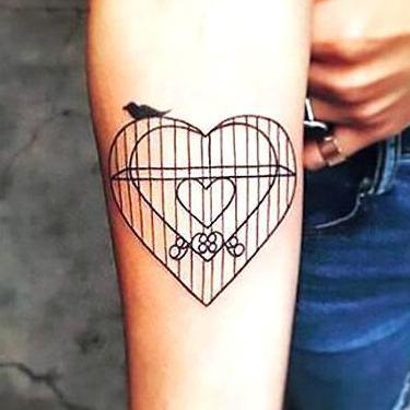 Birdcage Heart Tattoo