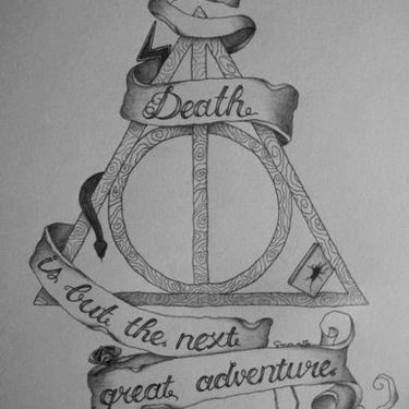 Deathly Hallows with Lettering Tattoo