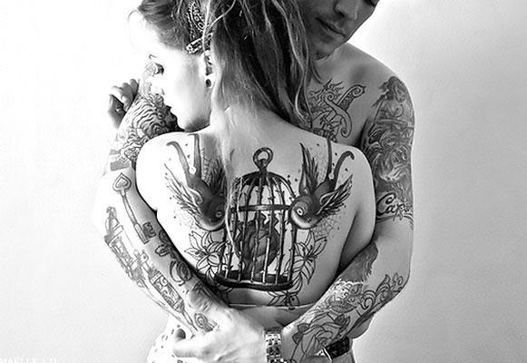 Birdcage on Back Tattoo Idea