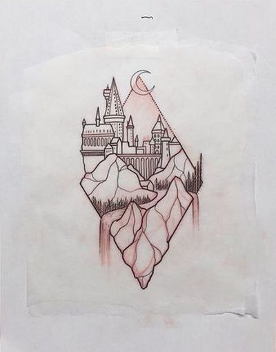 Hogwarts inside Rhombus Tattoo Design