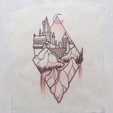 Hogwarts inside Rhombus Tattoo