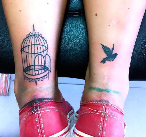 Birdcage on Calf Matching Tattoo Idea