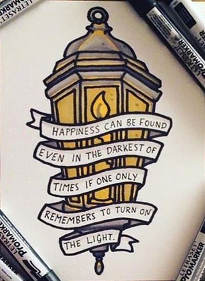 Street Light with Quote  Tattoo Design