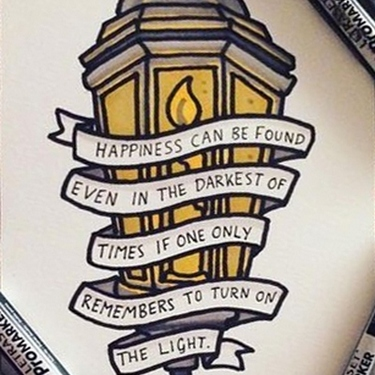 Street Light with Quote  Tattoo
