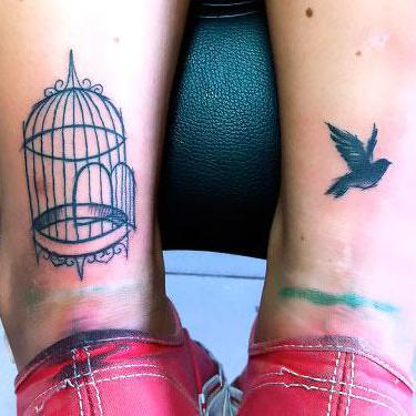 Birdcage on Calf Matching Tattoo