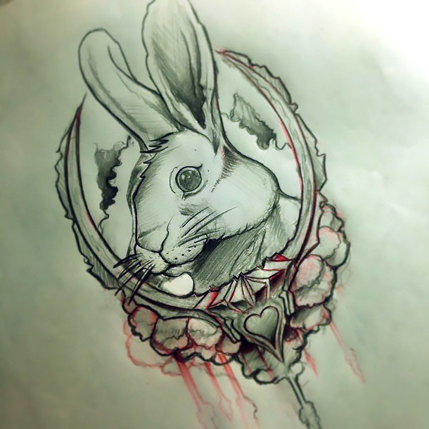Awesome Rabbit Tattoo Design