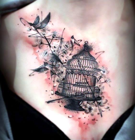 Birdcage on Chest Tattoo Idea