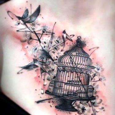 Birdcage on Chest Tattoo
