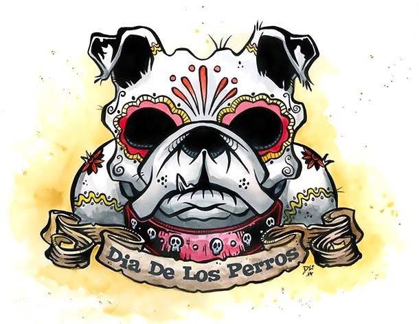 Best Bulldog Dia De Los Perros Tattoo Design