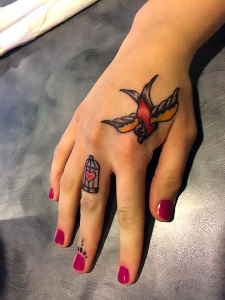 Birdcage on Finger Tattoo Idea