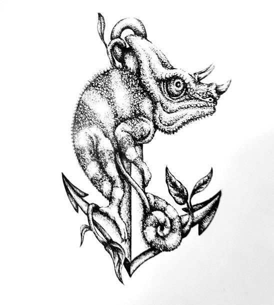 Black and White Chameleon on Anchor Tattoo Design