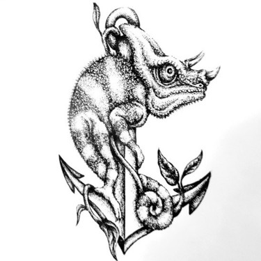 Black and White Chameleon on Anchor Tattoo