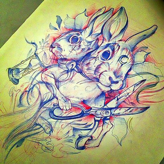 Bloody Rabbits Tattoo Design