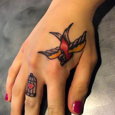 Birdcage on Finger Tattoo