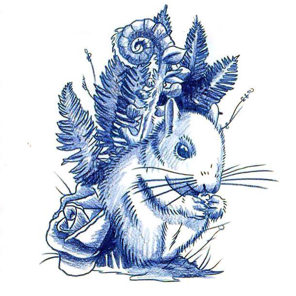 Blue Squirrel Tattoo Design