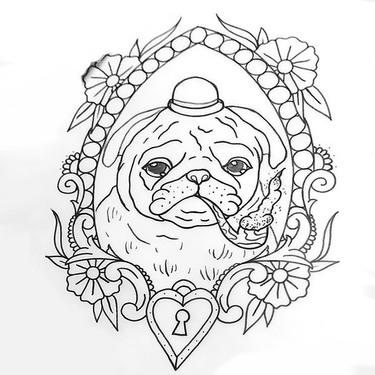 British Bulldog Pup Tattoo