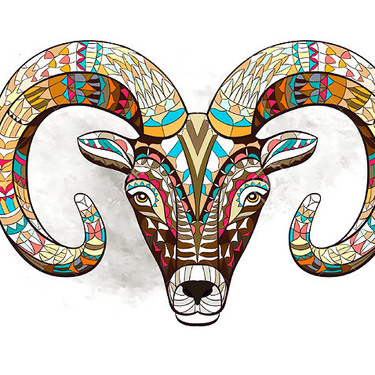 Colorful Goat Head Tattoo