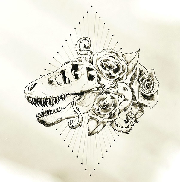 Cool Dinosaur Skull With Roses Tattoo Design