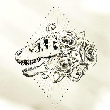 Cool Dinosaur Skull With Roses Tattoo