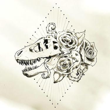 Cool Dinosaur Skull With Roses Tattoo