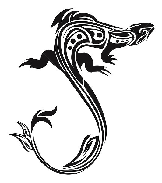 Cool Tribal Chameleon Tattoo Design