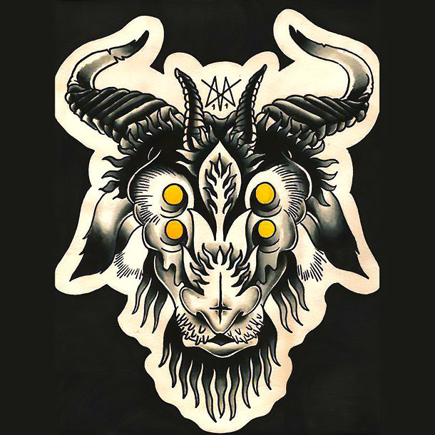 Crazy Goat Tattoo Design
