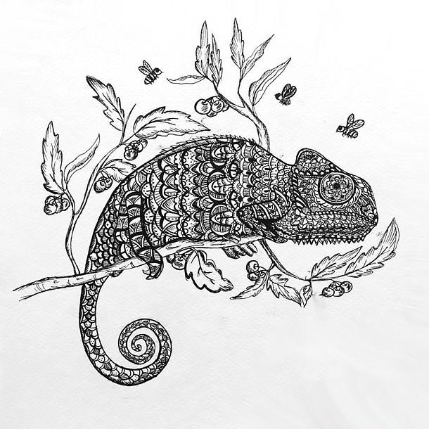 Creative Ornate Chameleon Tattoo Design