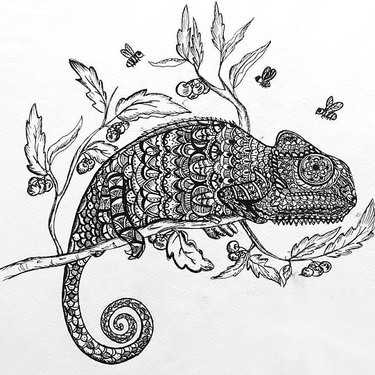 Creative Ornate Chameleon Tattoo