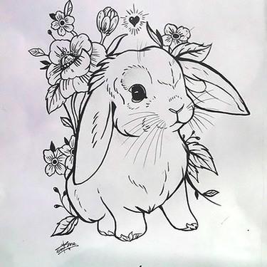 Cute Rabbit Tattoo