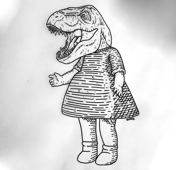 Dinosaur Girl Tattoo Design