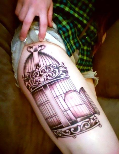 Birdcage on Hip Tattoo Idea
