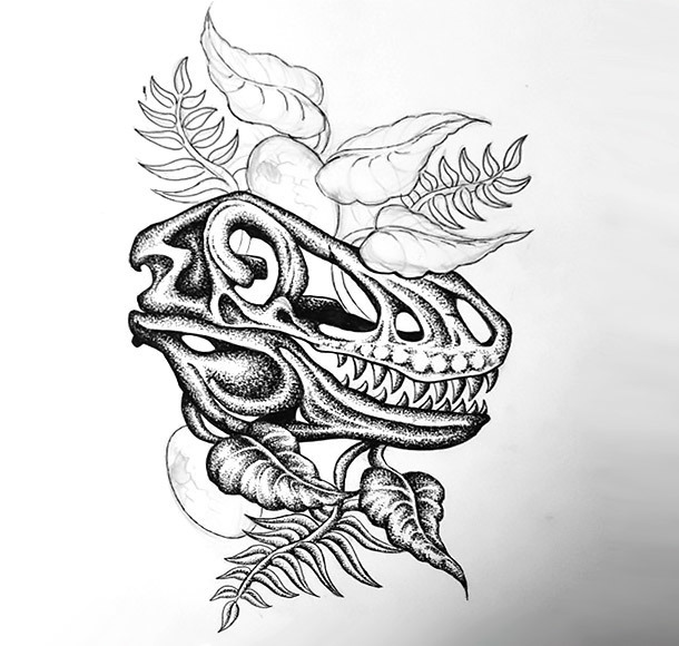 Dinosaur Skull Tattoo Design