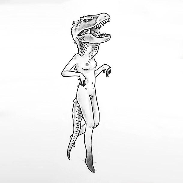 Dinowomen Tattoo Design