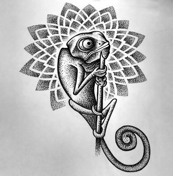 Dotwork Chameleon Tattoo Design