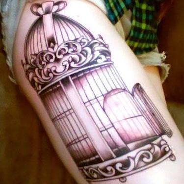 Birdcage on Hip Tattoo
