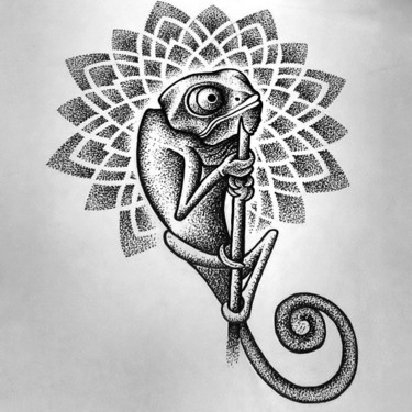 Dotwork Chameleon Tattoo