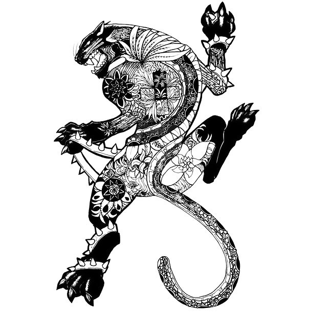 Fantasy Jaguar Tattoo Design