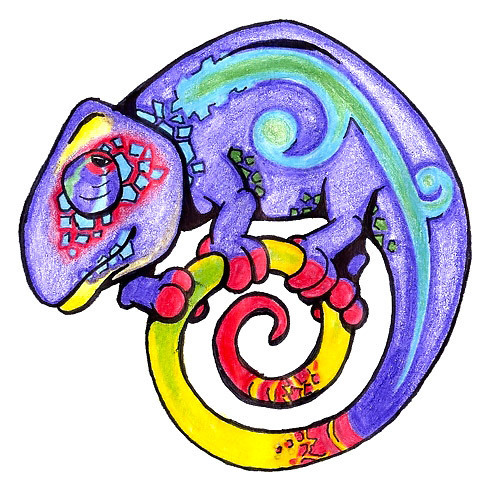 Funny Chameleon Tattoo Design