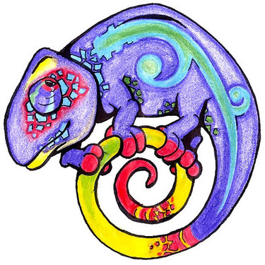 Funny Chameleon Tattoo