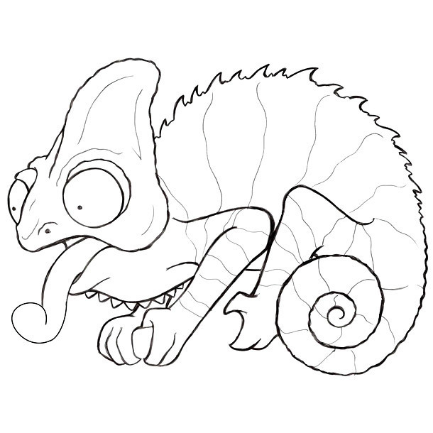 Funny Chameleon Tattoo Sketch Tattoo Design