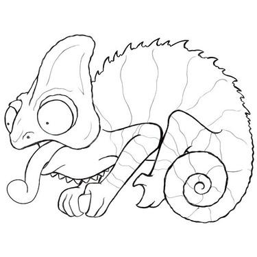 Funny Chameleon Tattoo Sketch Tattoo