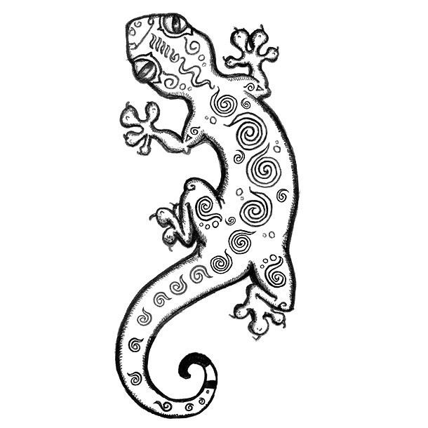 Funny Gecko Tattoo Design