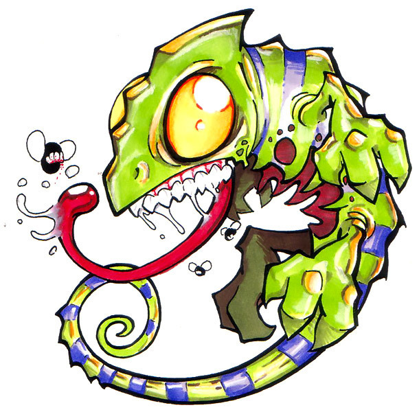 Funny New School Chameleon Tattoo Design