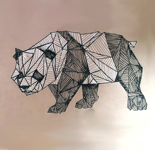 Cool Geometric Panda Tattoo Design