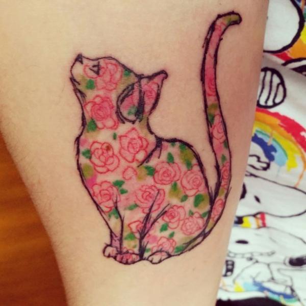 Floral Feline Tattoo Idea
