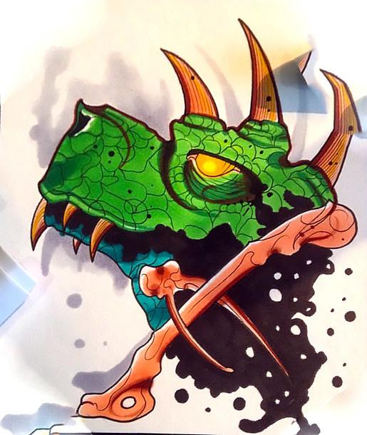 Green Dinosaur Tattoo Design