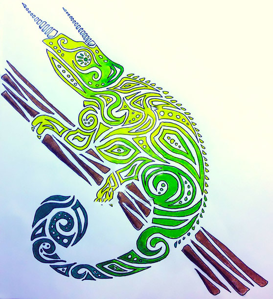 Green Tribal Chameleon Tattoo Design