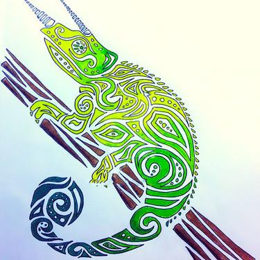 Green Tribal Chameleon Tattoo