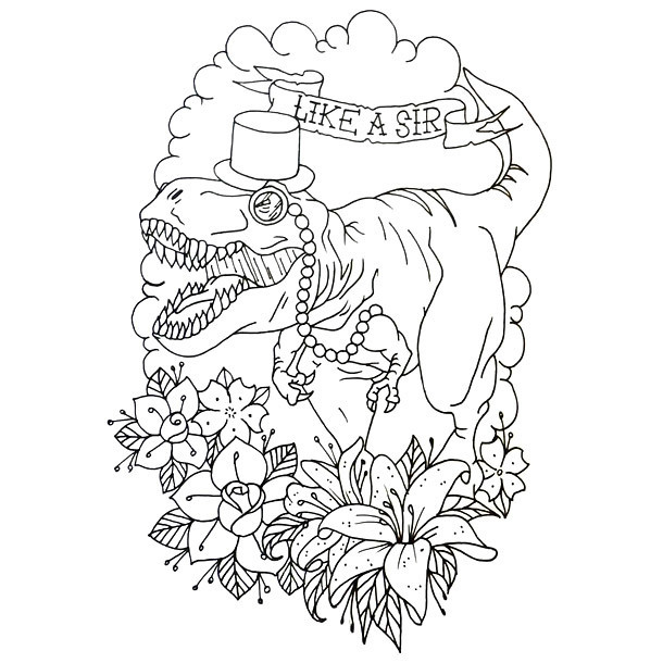 Like A Sir Dinosaur Tattoo Design