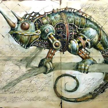 Mechanical Chameleon Tattoo